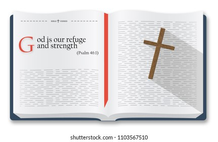 Best Bible verses to remember - Psalm 46:1. Holy scripture inspirational sayings for Bible studies and Christian websites, Bible illustration isolated over white background