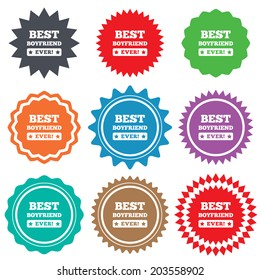 Best boyfriend ever sign icon. Award symbol. Exclamation mark. Stars stickers. Certificate emblem labels.