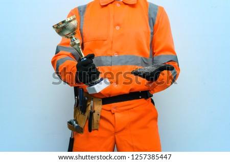 Best Builder Contractor Award Concept Golden Stock Photo
