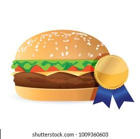 best burger award ribbon illustration design isolated over white