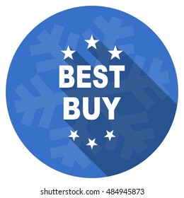 best buy blue flat design christmas winter web icon with snowflake