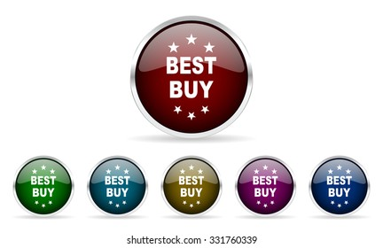 best buy colorful glossy circle web icons set