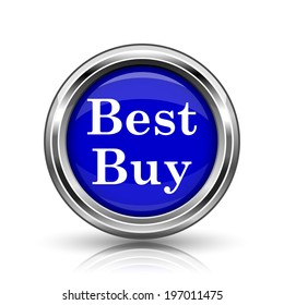 Best buy icon. Shiny glossy internet button on white background.