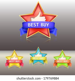 Best buy label with stars and ribbons, illustration