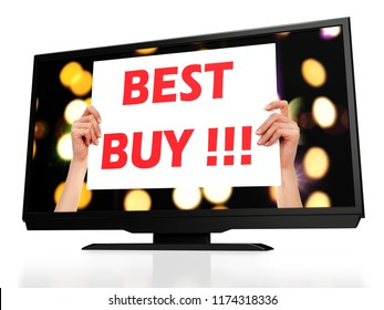 Best buy. Modern LCD tv. 3D rendering