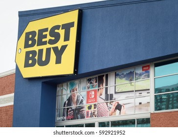 Best Buy storefront with a Nintendo Switch advertisement in Yonkers, New York, USA on March 4, 2017. The Nintendo Switch's release date was on March 3rd.