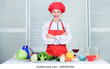 Best culinary recipes to try at home. Lady adorable chef teach culinary arts. Professional culinary tips. Culinary show concept. Woman pretty chef wear hat and apron. Delicious and easy recipes.
