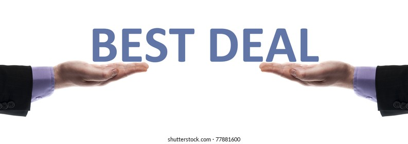 Best deal message in male hands