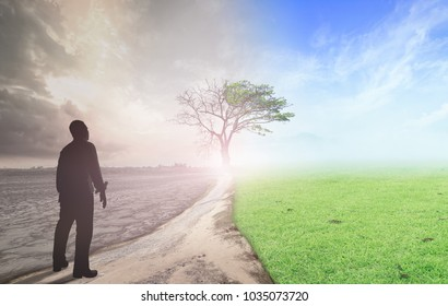 The best decision for good life concept: Businessman standing between climate worsened with good atmosphere background