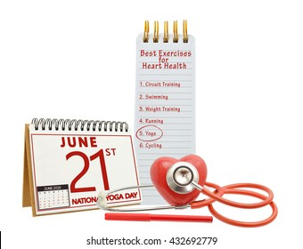 Best Exercises for Heart Health: Circuit Training, Swimming, Weight Training, Running, Yoga, Cycling, Stethoscope, Felt Tip Pen, National Yoga Day 21 June 2016 Calendar