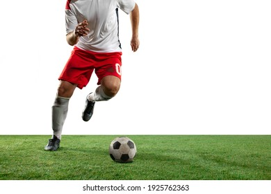 Best Fighting. Close up legs of professional soccer, football players fighting for ball on field isolated on white background. Concept of action, motion, high tensioned emotion during game.