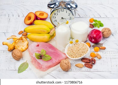 Best food for getting sleep. Foods rich of tryptophene and melatonin. Healthy nutrition concept