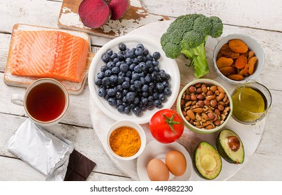 Best Foods for brain. Healthy eating Concept. Top view