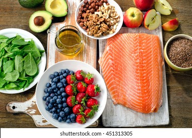 Best Foods for healthy Heart on a wooden background. Top view