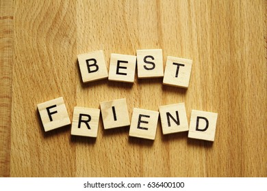 Best Friend Word Made Up From Wooden Block As Wallpaper