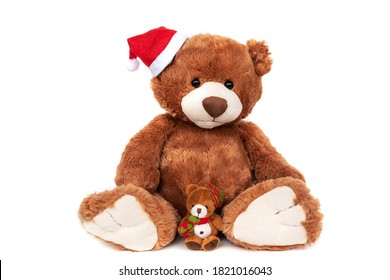 Best friends cute classic brown teddy Santa bear in Christmas hat with tiny one in warm scarf sitting isolated on white studio background. Winter coziness concept, new year postcard. Toy friendship