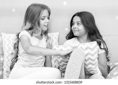 Best friends forever. Soulmates girls having fun bedroom interior. Childhood friendship concept. Girls best friends sleepover domestic party. Girlish leisure. Sleepover time for fun gossip story.