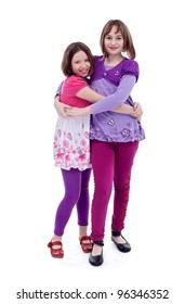 Best friends forever - young girls hugging, isolated