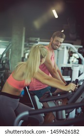Best friends healthy together. People at gym.