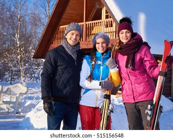 Best friends spend winter holidays at mountain cottage.