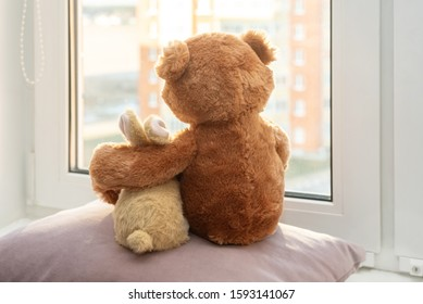 Best friends teddy bear and bunny toy sitting on window sill hugging each other and looking out of window. Back view. Love, family and friendship concept. stay at home, safe, quarantine.