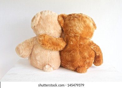 Best Friends two teddy bears with arms around each other