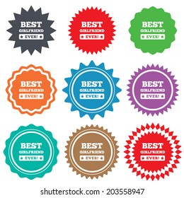 Best girlfriend ever sign icon. Award symbol. Exclamation mark. Stars stickers. Certificate emblem labels.