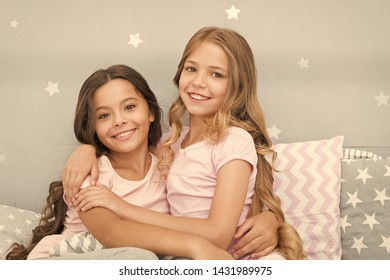 Best girls sleepover party ideas. Soulmates girls having fun sleepover party. Childhood friendship concept. Girls happy best friends sleepover domestic party. Sleepover time for fun gossip story.