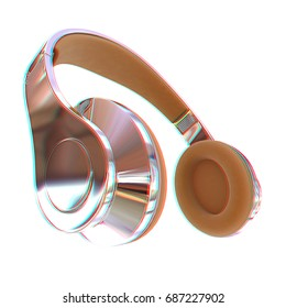 Best headphone icon. 3d illustration. Anaglyph. View with red/cyan glasses to see in 3D.
