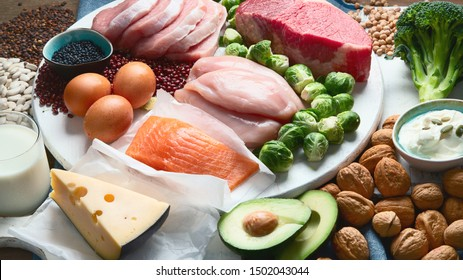 Best high protein foods. Healthy eating concept. Health and body building food.