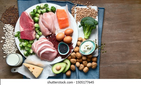 Best high protein foods. Healthy eating concept. Health and body building food. Top view with copy space