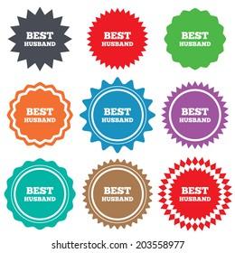 Best husband sign icon. Award symbol. Stars stickers. Certificate emblem labels.