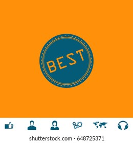 Best Icon Illustration. Blue pictogram on orange background and bonus icons Thumb up, Man and Woman avatar, Gears, World map, Headphones