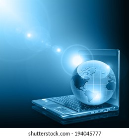 Best Internet Concept of global business from concepts series. Globe on laptop.