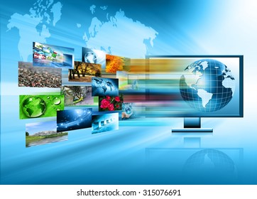 Best Internet Concept of global business. Monitor and glowing lines on technological background. Electronics, Wi-Fi, rays, symbols of the Internet, television, mobile and satellite communications
