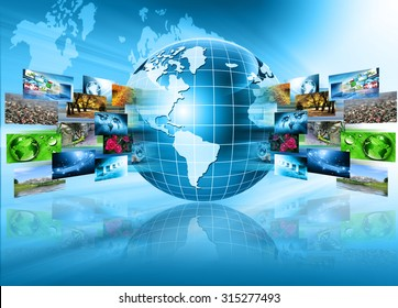 Best Internet Concept of global business. Monitor, globe  on technological background. Electronics, Wi-Fi, rays, symbols of the Internet, television, mobile and satellite communications