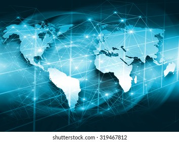 Best Internet Concept of global business from concepts series.  World map with lines of light communication network Internet, satellite, wi-fi
