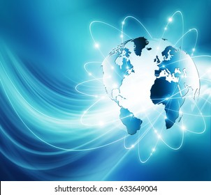 Best Internet Concept. Globe, glowing lines on technological background. Electronics, Wi-Fi, rays, symbols Internet, television, mobile and satellite communications. 3D illustration