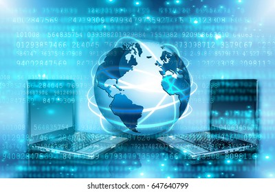Best Internet Concept. Globe, glowing lines on technological background. Electronics, Wi-Fi, rays, symbols Internet, mobile and satellite communications. Technology illustration, 3D illustration