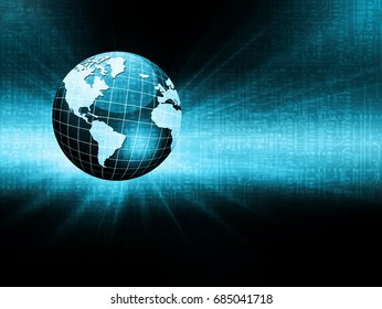 Best Internet Concept. Globe, glowing lines on technological background. Electronics, Wi-Fi, rays, symbols Internet, television, mobile and satellite communications. Technology 3D illustration