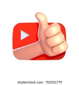Best Internet video channel, blog. Thumb up cartoon hand. 3d render