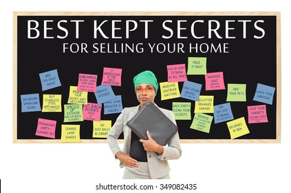 Best Kept Secrets for Selling Your home (Brighten, First Impression, Hide Pets, Closets Tidy and Half Empty) professional woman wearing head wrap holding binder isolated on white background