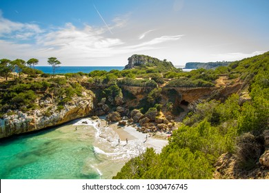Best Mallorca Beach panorama view of the bay at Cala S'Almunia in Majorca island, Spain Mediterranean Sea, Balearic Islands