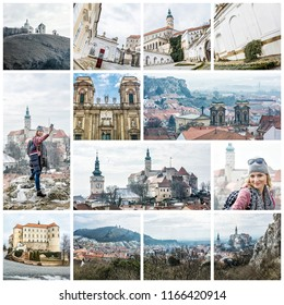 Best of Mikulov, Moravia, Czech republic, Europe. Collage of travel images.