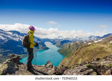 Best Norway hike. Besseggen Ridge. Yotunheimen national park