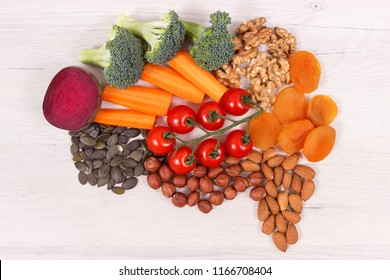 Best nutritious food in shape of brain for health and good memory, concept of healthy eating