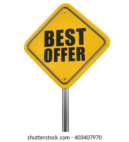 Best offer road sign. Image with clipping path