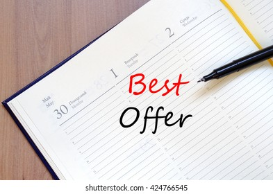 Best offer text concept write on notebook