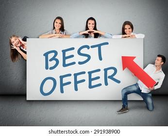 Best offer word writing on white banner