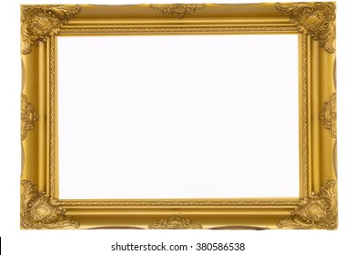 best old picture frame on white background.